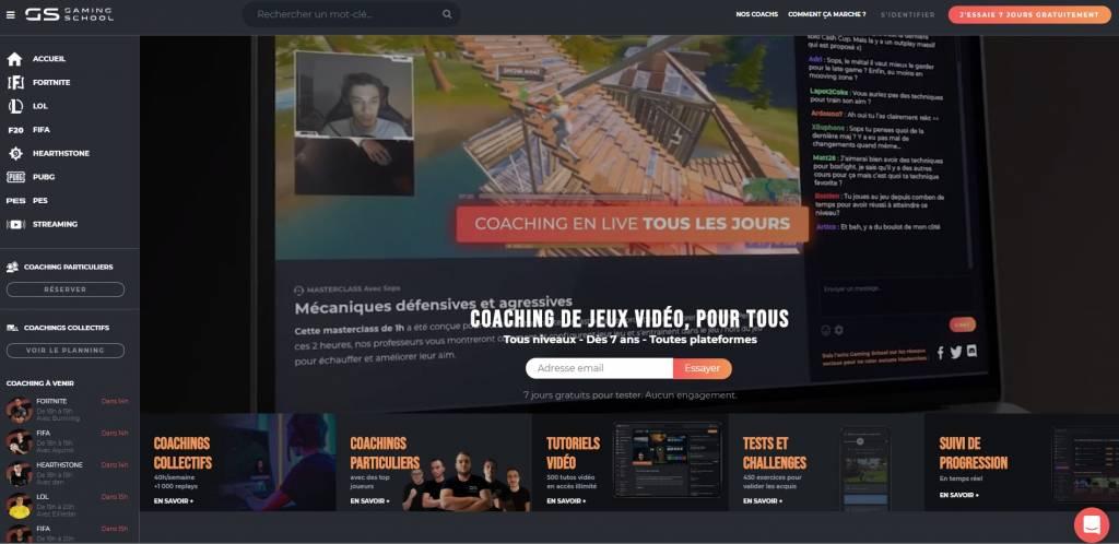 Page d'acceuil de la Gaming School, plateforme de coaching esport commercialisée par Micromania-Zing
