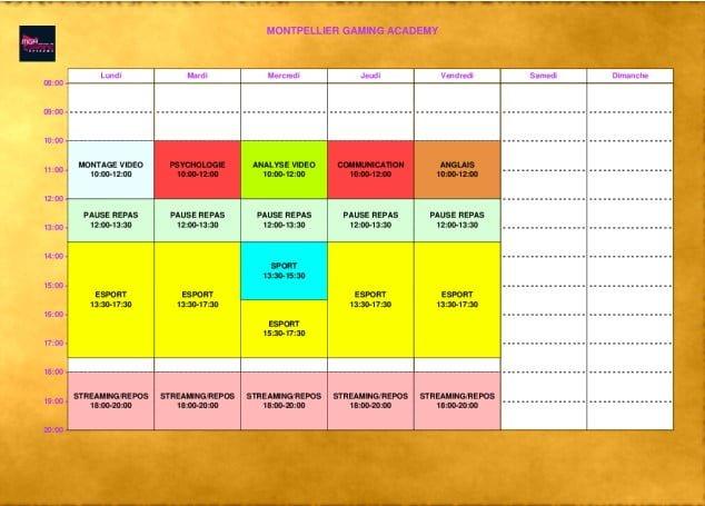 Planning d'une semaine à l'école MGA.